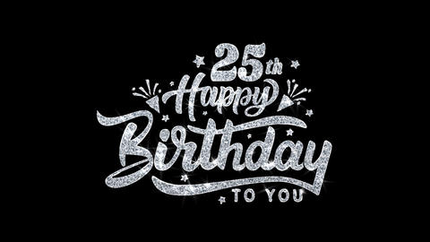 25th Happy Birthday Blinking Text Wishes Particles... Stock Video Footage