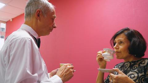 Senior Couple Drink Tea Pleasant Conversation GIF