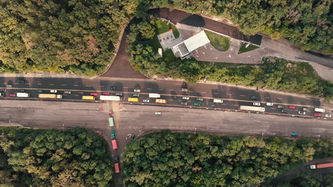Aerial shot of the road with traffic in the Kyiv GIF