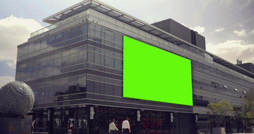Billboard Ad with Green Screen in building in the city…, Live Action