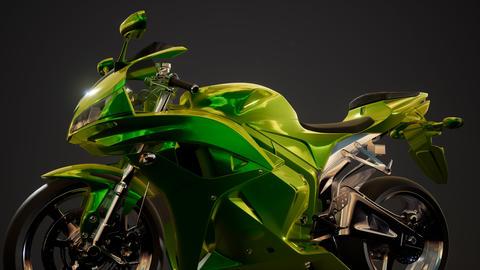 moto sport bike in dark studio with bright lights Archivo