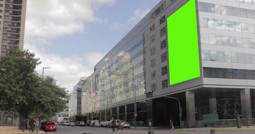 Billboard Ad with Green Screen in building in the city… Stock Video Footage