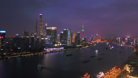 Hyper lapse of aerial view of Shanghai Downtown, China. Financial district and business centers in Live Action