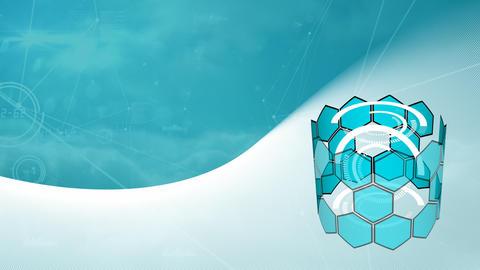 Spinning blue honeycombed on white wave Animation