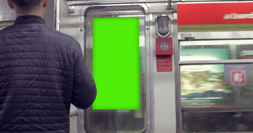 Billboard Ad with Green Screen in subway– Croma Key Footage