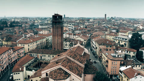 Aerial view of Treviso, Italy Live Action