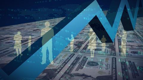 Digital composite of digitally generated dollar bills Animation