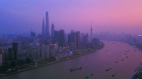 Hyper lapse of aerial view of skyscraper and high-rise office buildings in Shanghai Downtown at Live Action