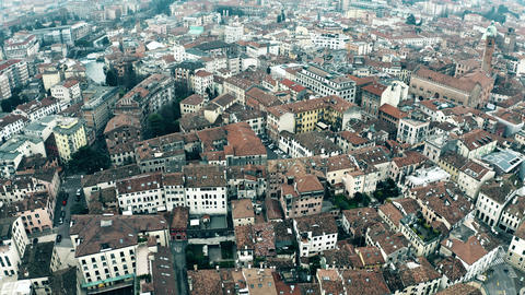 Aerial view of residential houses in Treviso, Italy Live Action