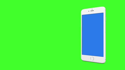 White smartphone with blue screen animation on green screen background for matte color Animation