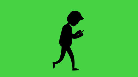 Silhouette man with smartphone and walk cycle in green screen.Video animation alpha channel Animación