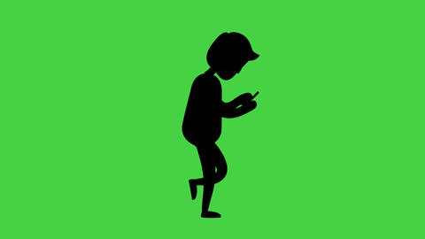[alt video] Silhouette man with smartphone and walk cycle in green...