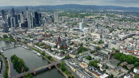 Aerial view of the cityscape of Frankfurt am Main, Germany Footage