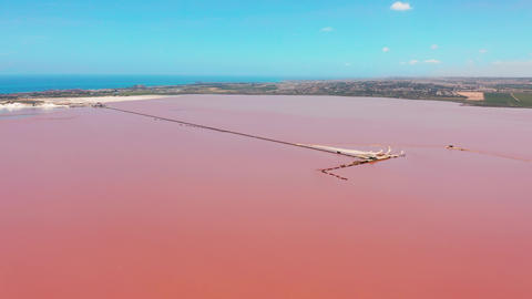 Panoramic aerial view video of Las Salinas, bright color famous place pink lake Live Action
