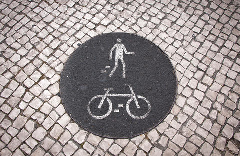 Bicycle and pedestrian lane road sign Photo