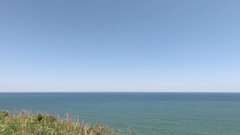 Overlooking the wide sea horizon Footage