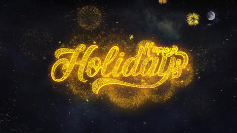 Happy Holidays Text Wishes Reveal From Firework Particles Greeting card Live Action