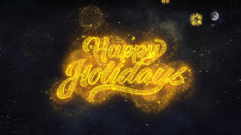 Happy Holidays Text Wishes Reveal From Firework Particles Greeting card Footage