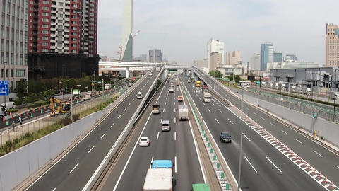 Japan Expressway and running vehicles Footage