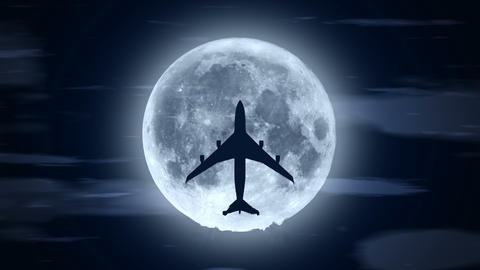 Passenger airplane over moon in cloudy night GIF