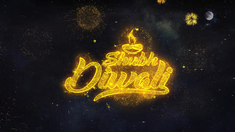 Happy Shubh Diwali Text Wishes Reveal From Firework Particles Greeting card Live Action
