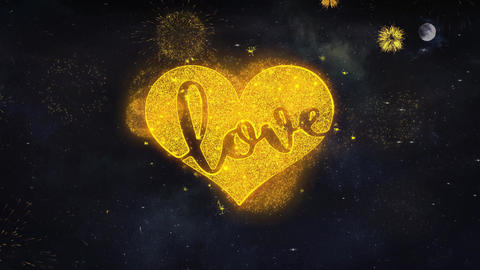 Valentine Love Heart Text Wishes Reveal From Firework Particles Greeting card Footage