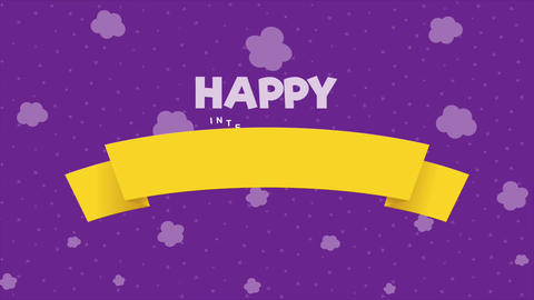 [alt video] Happy International Children's Day greeting card. Colored...