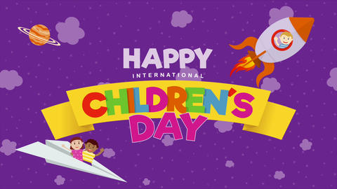 Happy International Children's Day greeting card. Colored letters on a yellow ribbon with a child Animación