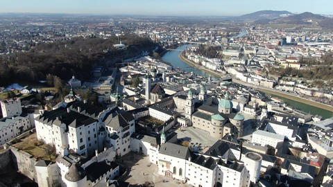 Massive Hohensalzburg castle on a mountain with Salzburg on the background, 4k Live Action