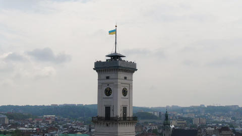 Drone view of the large clock on the tower of the main city hall. Life in the Footage