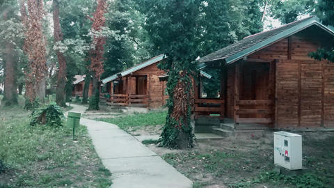 Wooden village with concrete footpath and old trees Footage