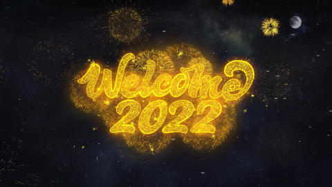 Welcome 2022 Text Wishes Reveal From Firework Particles Greeting card Live Action