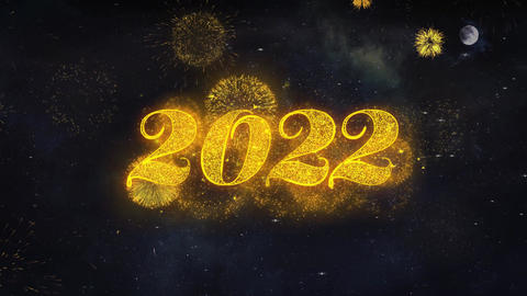 Happy New Year 2022 Text Wishes Reveal From Firework Particles Greeting card Live Action