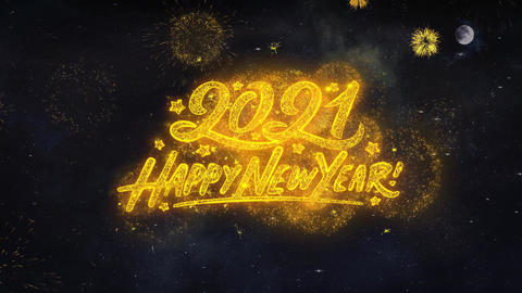 2021 Happy New Year Text Wishes Reveal From Firework Particles Greeting card Live Action