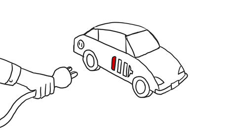 Electric Vehicle Charging Drawing 2D Animation Animation