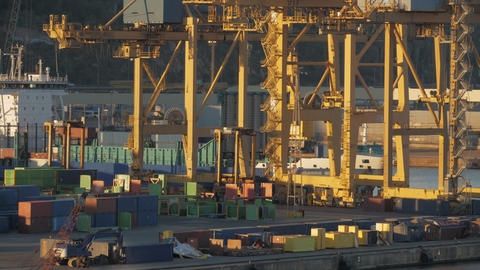 Timelapse of busy container port Archivo