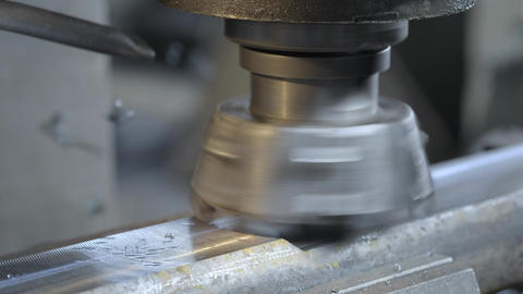 CNC Milling Machine Produces Metal Detail on Factory. Metalworking machine Footage