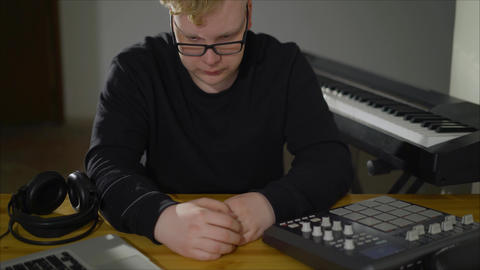 Composer thinks, Concept for a musician. Creative composer in the process Live Action
