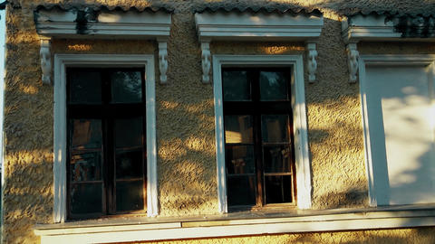 Old stylish wooden windows from the 19th century Footage