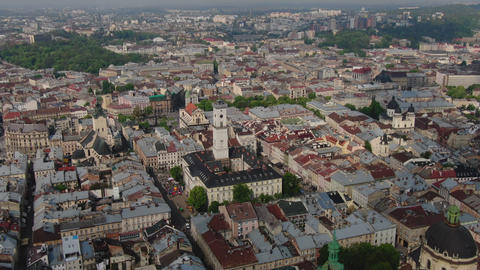 Aerial Roofs and streets Old City Lviv, Ukraine. Panorama of the ancient town Archivo