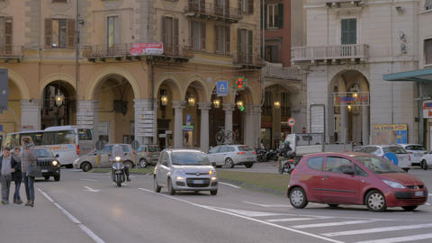 Savona street view with road traffic, Italy Archivo