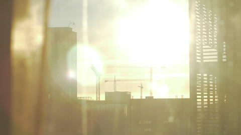Window overlooking the city. View in sunlight Footage