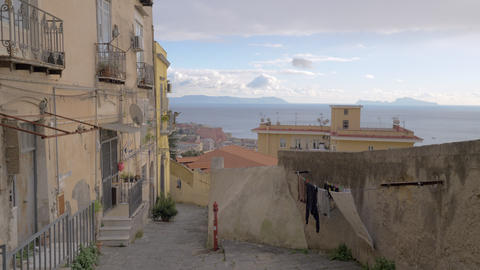 Naples empty street overlooking the sea, Italy Archivo