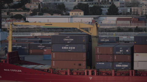 Container port with cargo ship in Marseille, France Archivo