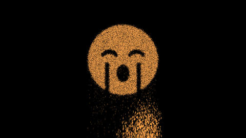 Symbol sad cry appears from crumbling sand. Then crumbles down. Alpha channel Premultiplied - Matted Animation