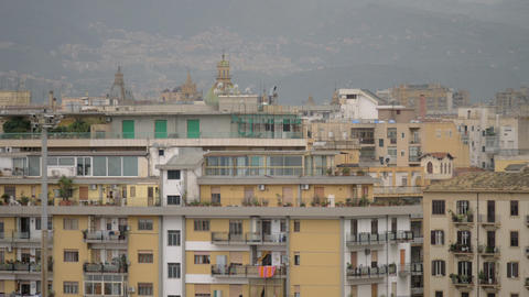 Palermo cityscape with houses and hills, Italy Archivo