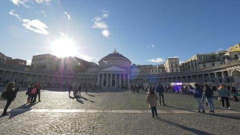 Tourists at Piazza del Plebiscito in Naples, Italy Archivo