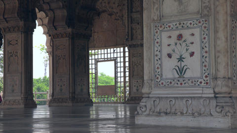 Detail of the columns of one of the buildings inside the Red Fort at New Delhi Footage