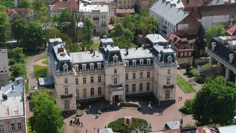 Potocki Palace in Lviv, Ukraine. Aerial Old City Lviv, Ukraine. Densely Footage