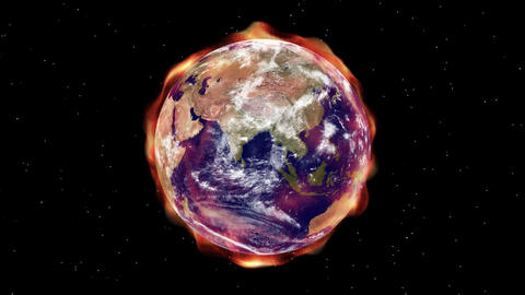 Earth Aura 007: Global warming aura of heat radiation envelopes the Earth in space Animation